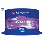 Диск DVD+R Verbatim 4.7Gb 16x Cake Box (50шт) (43550)